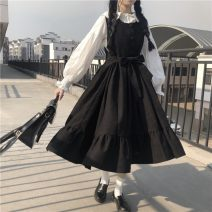 Dress Autumn 2020 Blue dress, black dress, white shirt Average size Mid length dress Two piece set Long sleeves commute High waist other 18-24 years old Type A Korean version 81% (inclusive) - 90% (inclusive) other