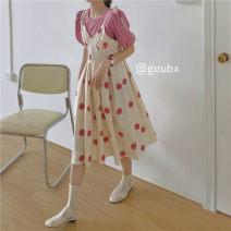 Dress Summer 2021 Pink shirt, pink dot skirt, yellow shirt, yellow dot skirt Average size Middle-skirt singleton  Sleeveless commute V-neck High waist Dot Socket A-line skirt other camisole 18-24 years old Type A Korean version other other