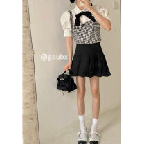skirt Summer 2021 Average size Plaid vest with bow tie, bubble sleeve shirt, short skirt Short skirt commute High waist A-line skirt lattice Type A 18-24 years old K545 71% (inclusive) - 80% (inclusive) other other Korean version