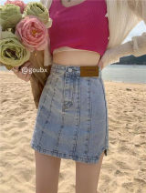 skirt Summer 2021 S,M,L blue Short skirt commute High waist A-line skirt Solid color Type A 18-24 years old 71% (inclusive) - 80% (inclusive) Denim other Make old Korean version