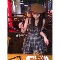 Dress Summer 2021 Plaid Dress S, M Short skirt singleton  Sleeveless commute other High waist lattice Socket Pleated skirt other camisole 18-24 years old Type A Korean version six thousand three hundred and four # 51% (inclusive) - 70% (inclusive) other other