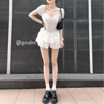 Dress Summer 2021 white S,M,L Short skirt singleton  Short sleeve commute square neck High waist Solid color Socket A-line skirt routine Others 18-24 years old Type A Korean version Lotus leaf edge other other
