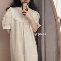 Nightdress Other / other white Average size Simplicity Short sleeve Leisure home Middle-skirt summer Plants and flowers youth Crew neck other printing More than 95% other 200g and below
