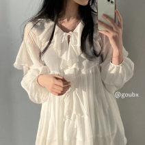 Dress Summer 2021 white Average size Middle-skirt singleton  Long sleeves commute square neck High waist Solid color Socket A-line skirt pagoda sleeve Others 18-24 years old Korean version Lotus leaf edge 31% (inclusive) - 50% (inclusive) other other