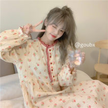 Nightdress Other / other Broken flowers Average size girl Long sleeves pajamas Middle-skirt spring Broken flowers youth Crew neck other More than 95%