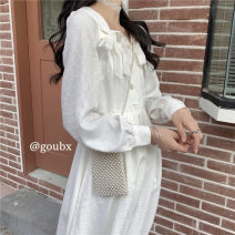 Dress Spring 2021 white S,M,L Mid length dress singleton  Long sleeves commute V-neck High waist Solid color Socket A-line skirt routine Others 18-24 years old Type A Korean version bow other other
