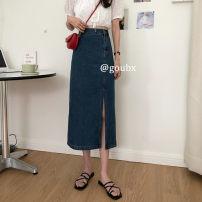 skirt Summer 2020 S,M,L,XL Light blue, dark blue longuette Versatile High waist Denim skirt Type H 18-24 years old 71% (inclusive) - 80% (inclusive) Denim