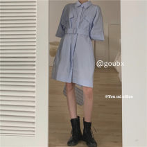 Dress Summer 2021 blue Average size Middle-skirt singleton  elbow sleeve commute Polo collar High waist Solid color Single breasted A-line skirt routine Others 18-24 years old Type A Korean version 6245# other other