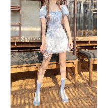 Dress Summer 2021 Blue lattice S,M,L Short skirt singleton  Short sleeve commute square neck High waist Solid color Socket A-line skirt routine Others 18-24 years old Type A Korean version bow other other