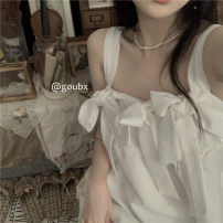 Dress Summer 2021 White, black Average size Middle-skirt singleton  Sleeveless commute square neck High waist Solid color Socket A-line skirt other camisole 18-24 years old Type A Korean version bow More than 95% other other