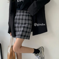 skirt Spring 2021 S, M Black and white, yellow Short skirt commute High waist A-line skirt lattice Type A 18-24 years old More than 95% other other Korean version