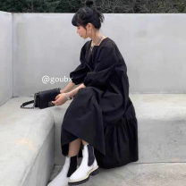Dress Spring 2021 Apricot, black Average size Mid length dress singleton  Long sleeves commute square neck High waist Solid color Socket Big swing other Others 18-24 years old Type H Korean version 81% (inclusive) - 90% (inclusive) other