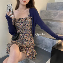 Dress Summer 2021 Navy cardigan, floral skirt s, Floral Skirt M Average size Short skirt singleton  Sleeveless commute High waist Broken flowers Socket A-line skirt other Others 18-24 years old Type A Other / other Korean version 30% and below other other
