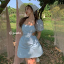 Dress Summer 2021 wathet S, M Short skirt singleton  Short sleeve commute square neck High waist Solid color Socket A-line skirt routine Others 18-24 years old Type A Korean version Bandage other other