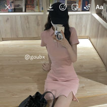 Dress Summer 2021 White, pink S,M,L Short skirt singleton  Short sleeve commute Polo collar Elastic waist Solid color Socket A-line skirt other Others 18-24 years old Type H Korean version other other