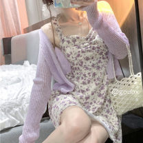 Dress Summer 2021 Short skirt Two piece set Sleeveless Sweet High waist Decor Condom A-line skirt other camisole 18-24 years old Type A 5551 other princess S. M, l, average size Coat, dress