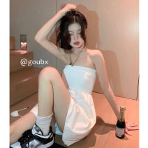 Dress Summer 2021 White, black Average size Short skirt singleton  Sleeveless commute One word collar High waist Solid color Socket A-line skirt other Others 18-24 years old Type A Korean version More than 95% other other