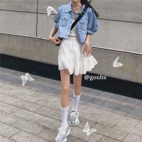 Fashion suit Summer 2020 S. M, l, average size Light blue denim coat, white lace sling, white pleated skirt 18-25 years old # thirty-three thousand one hundred and forty-two