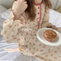 Nightdress Other / other Red, yellow Average size Sweet Long sleeves Leisure home longuette autumn Plants and flowers youth Crew neck Lotus leaf edge More than 95% other 200g and below