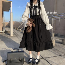 Dress Autumn 2020 A shirt with a bow tie and a skirt with straps Average size Mid length dress commute High waist Solid color A-line skirt 18-24 years old Type A Korean version Splicing 81% (inclusive) - 90% (inclusive) other