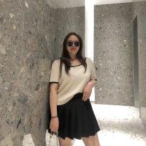 skirt Summer 2021 M,L,XL,2XL White, black Mid length dress Versatile Natural waist Pleated skirt Type A