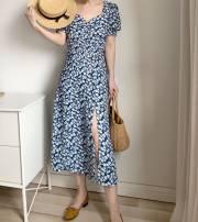 Dress Summer 2020 Blue, green XS,S,M,L Mid length dress singleton  Short sleeve Sweet square neck High waist Decor puff sleeve Others
