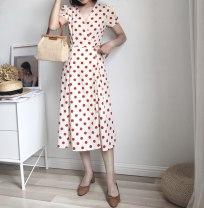 Dress Summer of 2018 Beige background red dot S,M,L Short skirt singleton  Short sleeve Sweet V-neck Others
