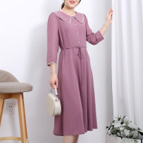 Dress Spring 2021 Purple blue red M L XL XXL longuette singleton  Nine point sleeve commute Doll Collar High waist Solid color Socket A-line skirt routine Others 30-34 years old Type A Feidan Korean version Button FW21CZFL023 More than 95% Chiffon polyester fiber Polyester 100%