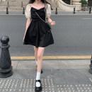Dress Summer 2021 Dress 11132, top 11133 S,M,L Short skirt Short sleeve square neck High waist Socket puff sleeve Type A bow