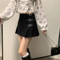 skirt Summer 2021 S. M, l, average size Black skirt 11096, red and blue plaid skirt 11096, rose top 11030 Short skirt Versatile High waist Pleated skirt Type A Asymmetry