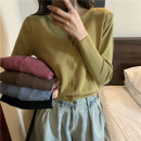 Wool knitwear Winter 2020 Average size Brown, sky blue, black, plum, mustard green three quarter sleeve singleton  Cardigan other 71% (inclusive) - 80% (inclusive) Super short routine easy Low crew neck routine Solid color Single breasted Other / other
