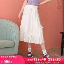 skirt Summer 2021 S M L Pear blossom white longuette Versatile High waist A-line skirt Solid color Type A 18-24 years old K70377 More than 95% Kuhnmarvin / kuenmavi polyester fiber Fold frenum Polyester 100% Pure e-commerce (online only)