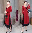 Dress Winter of 2018 Red, black M,L,XL,2XL,3XL,4XL Mid length dress Fake two pieces Long sleeves commute V-neck Loose waist Solid color Socket A-line skirt routine Others 35-39 years old Type A Other / other ethnic style 81% (inclusive) - 90% (inclusive) knitting cotton