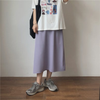 skirt Spring 2021 Average size Purple, black, green, lotus gray Mid length dress commute High waist A-line skirt Solid color Type A 18-24 years old Miss muzi zipper Korean version