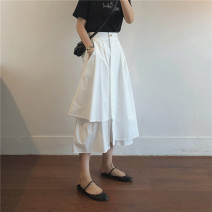skirt Spring 2021 M, L White, apricot, Navy, black Mid length dress commute High waist Irregular Solid color Type A 18-24 years old More than 95% cotton Button, zipper Korean version