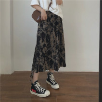 skirt Spring 2021 S,M,L Tie dye printing Mid length dress commute High waist A-line skirt Abstract pattern Type A 18-24 years old Miss muzi Tie, tie, print, crepe Korean version