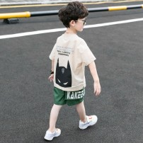 suit Other / other White, ginger, khaki 110cm,120cm,130cm,140cm,150cm,160cm male summer leisure time Short sleeve + pants 2 pieces Thin money There are models in the real shooting Socket nothing Superman logo cotton children Expression of love Class B Chinese Mainland Zhejiang Province Hangzhou