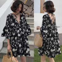Women's large Summer of 2019 black 2XL [solid 3], 3XL [Solid 4], 4XL, 5XL, 6xl, 7XL Dress singleton  commute easy thin Socket elbow sleeve Big flower V-neck routine Polyester, cotton printing and dyeing routine Hengni Middle-skirt