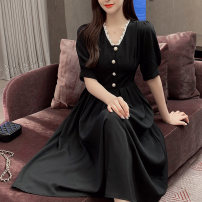 Women's large Summer 2020 black 2XL,3XL,4XL,5XL,6XL,7XL Dress singleton  commute easy moderate Socket Short sleeve Solid color Korean version polyester fold routine Hengni 51% (inclusive) - 70% (inclusive) Medium length other