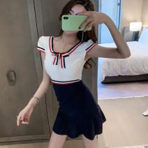 Dress Summer 2021 blue S,M,L,XL Miniskirt singleton  Short sleeve commute Crew neck High waist Solid color zipper routine Korean version
