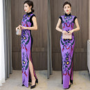 cheongsam Spring 2021 XXL,XXXL,M,L,XL violet Sleeveless long cheongsam High slit daily Decor Other / other