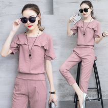 Fashion suit Summer 2021 S M L XL XXL Dark green lotus root pink orange 18-25 years old Hundred beauties BM17B0962 Polyester 63.5% viscose (viscose) 26.5% polyamide (nylon) 10% Same model in shopping mall (sold online and offline)