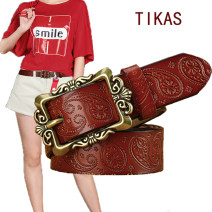 Belt / belt / chain Double skin leather T25001 light coffee, t25001 brown, t25001 black, t25001 coffee, t25001 white, t25001 red, t25002 light coffee, t25002 brown, t25002 black, t25002 coffee, t25002 white, t25002 red female belt Versatile Single loop Middle age, youth, youth Pin buckle Embossing