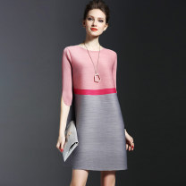Dress Spring 2017 Red pink Average size Middle-skirt singleton  Short sleeve commute Crew neck Loose waist stripe Socket A-line skirt routine Others 30-34 years old Type A Other / other Simplicity fold Crepe de Chine Cellulose acetate
