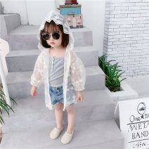 Lace / Chiffon Summer of 2019 80cm,90cm,100cm,110cm,120cm,130cm,140cm,150cm,160cm Long sleeves Versatile Cardigan singleton  easy Medium length Hood Solid color bishop sleeve Under 17 Other / other Lace 96% and above nylon