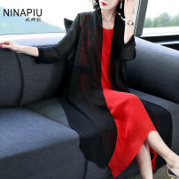 Lace / Chiffon Summer of 2019 black L XL 2XL three quarter sleeve commute Cardigan singleton  easy Medium length V-neck Solid color routine 35-39 years old Nina'piu / Nina Piao Embroidered stitching Ol style Polyester 100% Pure e-commerce (online only)