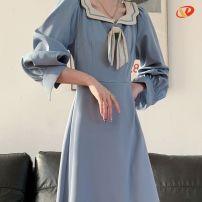 Dress Autumn 2020 Black, blue S,M,L,XL,2XL Mid length dress singleton  Long sleeves routine Splicing