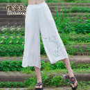 Casual pants White royal blue Average size Summer 2016 Cropped Trousers Wide leg pants Natural waist commute QZF16B16596 Love Princess literature Embroidery Cotton 65% flax 35% Pure e-commerce (online only)