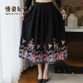 skirt Winter 2020 Medium length skirt Natural waist commute A-line skirt Design and color More than 95% other QZF20D206644 Embroidery Love Princess ethnic style Other 100% Pure e-commerce (online sales only) One size fits all black