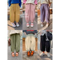 trousers Other / other female 80, 90, 100, 110, 120, 130, 140, 150 Black (spot), apricot (spot), pink (spot), green (spot), yellow (spot), purple (spot) spring and autumn Ninth pants leisure time There are models in the real shooting Casual pants Leather belt middle-waisted other
